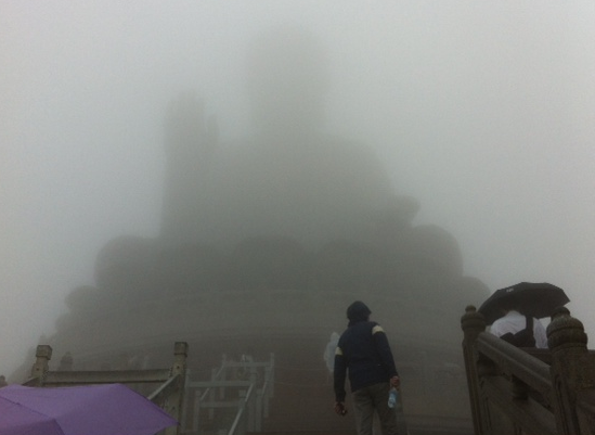 With so much fog, this was the best I could see of the enormous statue.